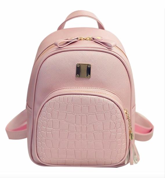 Рюкзак женский кожзам Crocodile print с кисточкой Розовый