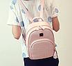 Рюкзак женский кожзам Crocodile print с кисточкой Розовый, фото 4