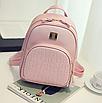 Рюкзак женский кожзам Crocodile print с кисточкой Розовый, фото 3
