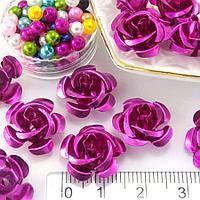 Розы металл 15 мм малиновые (35-40шт)