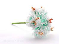 Цветы хризантемы (астры) 6 шт. 3-3,5 см диаметр бело-бирюзового цвета, фото 1