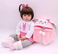 Кукла реборн Лена, 50 см мягконабивная, ручная работа Reborn doll