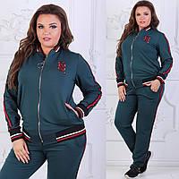 Женский модный спортивный костюм с красными тонкими лампасами, батал  большие размеры adfb553f39f