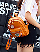 Рюкзак женский кожзам с цветами Коричневый, фото 2