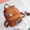 Рюкзак женский кожзам с цветами Коричневый, фото 4