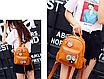 Рюкзак женский кожзам с цветами Коричневый, фото 3