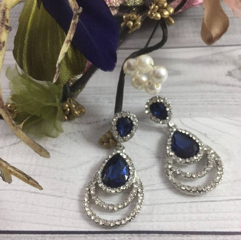 Серьги вечерние с синим кристаллом, фото 2