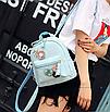 Рюкзак женский кожзам с цветами Голубой, фото 3