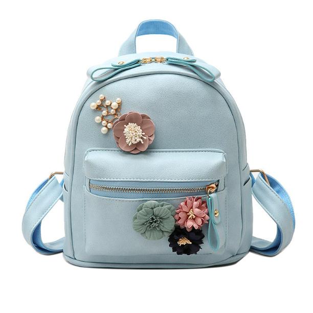 Рюкзак женский кожзам с цветами Голубой