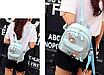 Рюкзак женский кожзам с цветами Голубой, фото 4