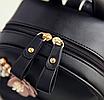 Рюкзак женский кожзам с цветами Голубой, фото 6