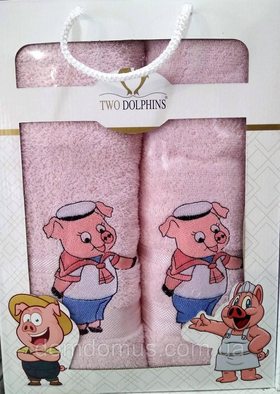 """Набор полотенец в подарочной упаковке Свинки"""" Новый Год 2019,  TWO Dolphin, Турция, розовый"""