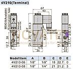 """Розподільник 5/2 1/4"""" 4V31008AG 220V AC AirTAC, фото 2"""