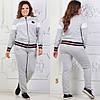 Женский трикотажный спортивный костюм: кофта бомбер и штаны, батал большие размеры, фото 2