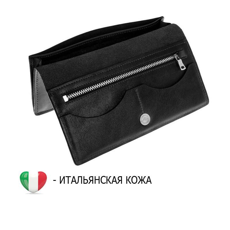 cc4dad2d1b7e Тонкий кожаный портмоне клатч кошелек из итальянской кожи черный ...