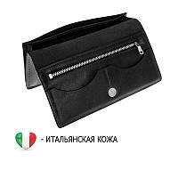 Тонкий кожаный портмоне клатч кошелек из итальянской кожи черный