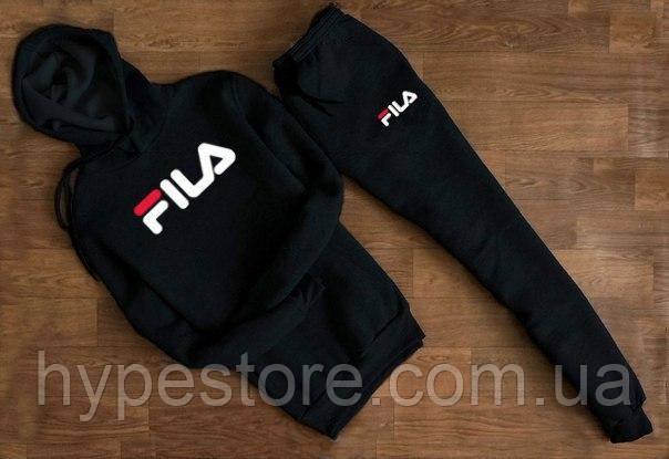 Зимний мужской спортивный костюм, зимний костюм на флисе, Fila (черный), Реплика