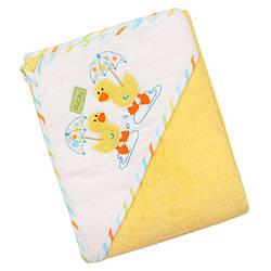 Детское полотенце-уголок махровое Baby Mix duck Z-CY-35, 100x100 см., желтое