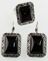 Комплект Агат серьги и кольцо код 596