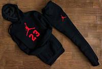 Зимний мужской спортивный костюм с капюшоном, зимний костюм на флисе Jordan 23, Реплика
