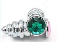Пробка анальная S ребристая металл с кристаллом, зеленый, фото 1