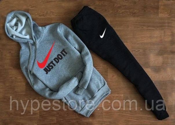 Зимний мужской спортивный костюм с капюшоном, зимний костюм на флисе Nike Just Do It (комби), Реплика