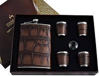 """Подарочный набор 6в1 """"Moongrass"""", Фляга, 4 стопки, лейка"""