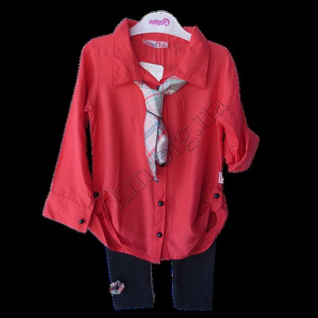 Набор детский для девочек 6 лет рубашка и лосины  Коралловый. Турция