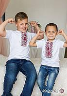 Повсякденна вишита футболка для хлопчика білого кольору із червоною вишивкою «Дем'янчик», фото 1
