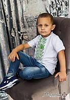 Модна вишиванка для хлопчика білого кольору із зеленим орнаментом «Дем'янчик », фото 1