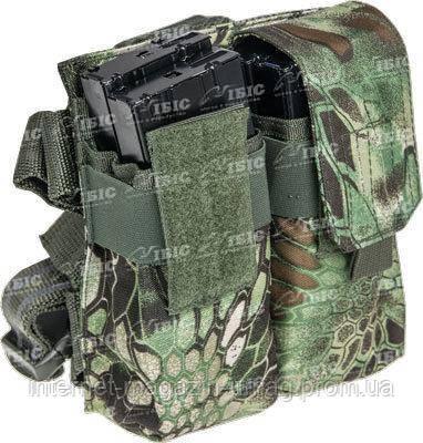 Подсумок Skif Tac для 4х магазинов АК с креплением на бедро, криптек зеленый