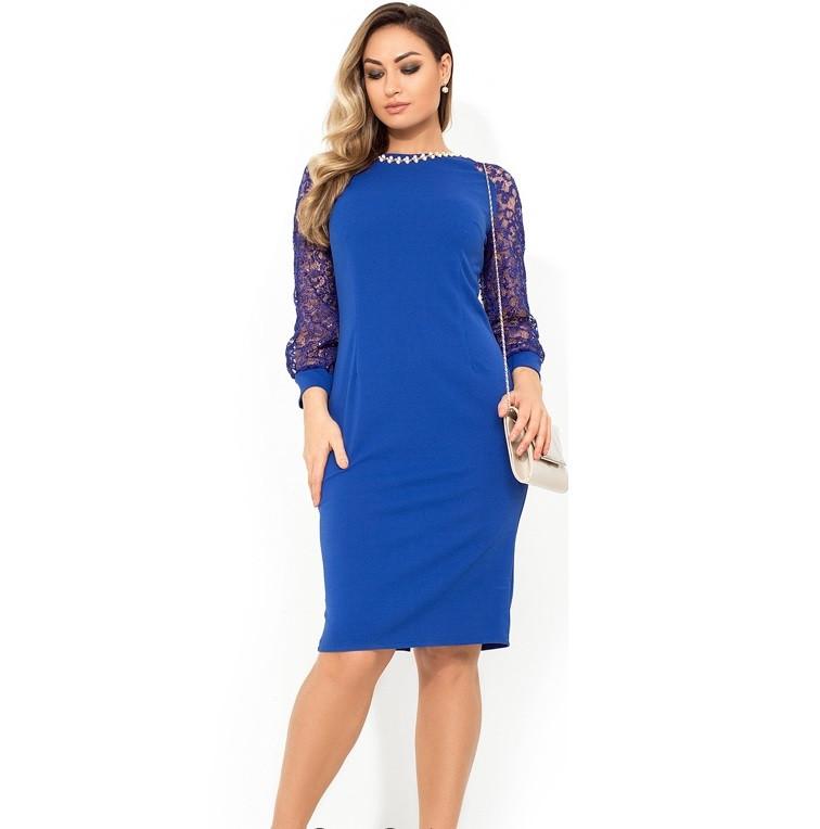 Элегантное платье с украшением на горловине размеры от XL ПБ-800