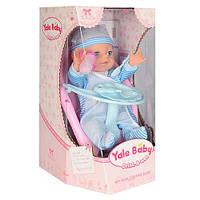 Кукла-пупс YL1721E интерактивная, в голубом костюмчике, стульчик для кормления