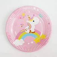 Тарелки бумажные Единорог розовый 10шт.