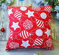 Подушка новогодняя красная серые гирлянды, 35 см * 35 см