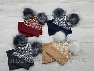 Зимний трикотажный комплект шапка и шарф на флисе р48-52.