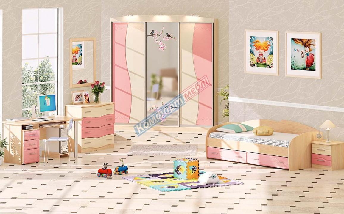Мебель в спальню для девочки, розовая- Волна ДЧ-4107