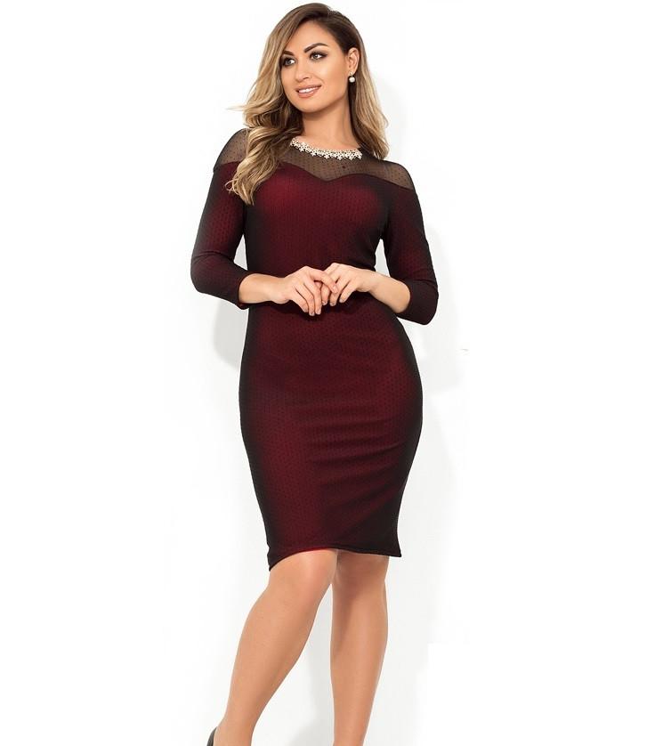 Платье бордовое с кокеткой и декором из бижутерии размеры от XL ПБ-809