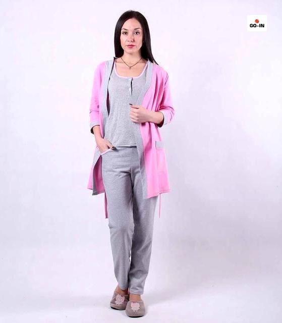 Жіночий теплий комплект трійка халат з піжамою р. 42-54