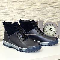 Ботинки мужские на шнуровке, натуральная синяя кожа и замш.