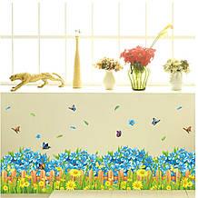 """Наклейка для интерьера """"Забор с цветами"""" 136*40см"""