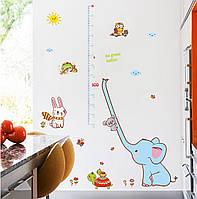 """Наклейка на стену ростомер """"Животные"""" 135*27см"""
