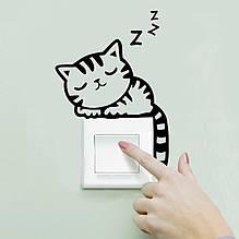 """Наклейка на выключатель """"Спящий котенок"""", черный 14*16см"""