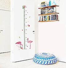 """Наклейка на стену ростомер """"Фламинго"""" 115*45см"""