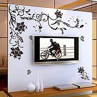 """Наклейка на стену """"Абстракция черные цветы"""" 150*76см"""