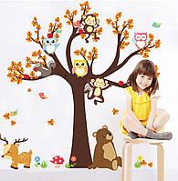 """Наклейка на стену в детскую """"Дерево и лесные животные"""" 180*100см"""