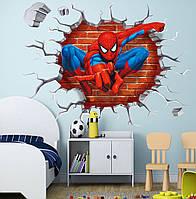 """Наклейка для интерьера в детскую 3D """"Человек-паук"""" 45*50см"""