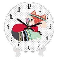 Часы настольные круглые Гламурная лисичка 18 см (CH18_P_TFL055)