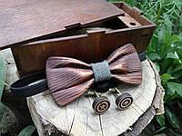 Деревянная бабочка галстук 3D  Джинс ручной работы, серия Зиррикот, фото 1