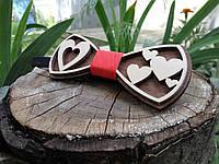 Деревянная бабочка галстук Ободок Сердца ручной работы, серия Fantasy, фото 1
